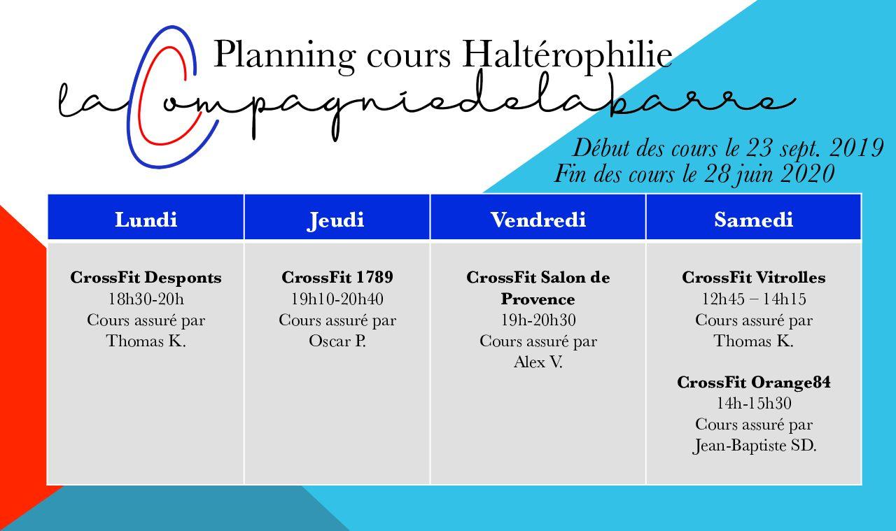 Planning et Tarifs – Saison 2019 -2020