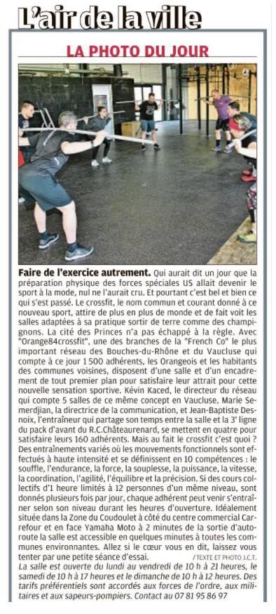 Orange 84 CrossFit dans Gard Vaucluse #O84CF